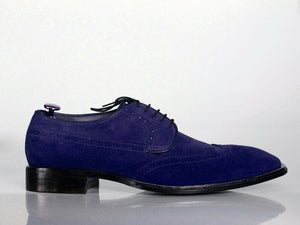 Handmade Men's Navy Blue Wing Tip Suede Lace Up Shoes, Men Designer Dress Formal Shoes - theleathersouq