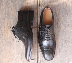 Handmade Men's Black Square Toe Leather Lace Up Shoes, Men Designer Dress Formal Shoes - theleathersouq