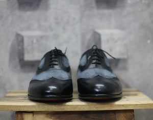 Handmade Men's Black Gray Leather Suede Wing Tip Lace Up Shoes, Men Dress Formal Shoes