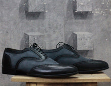 Load image into Gallery viewer, Handmade Men's Black Gray Leather Suede Wing Tip Lace Up Shoes, Men Dress Formal Shoes