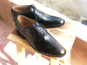 Handmade Men's Black Brogue Toe Leather Lace Up Shoes, Men Designer Dress Formal Luxury Shoes - theleathersouq