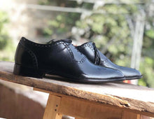 Load image into Gallery viewer, Handmade Men's Black Brogue Toe Leather Lace Up Shoes, Men Designer Dress Formal Luxury Shoes - theleathersouq