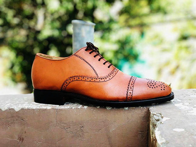 Handmade Men's Tan Cap Toe Brogue Leather Lace Up Shoes, Men Designer Dress Formal Luxury Shoes - theleathersouq