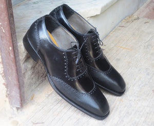 Handmade Men's Black Wing Tip Pebbled Leather Lace Up Shoes, Men Designer Dress Formal Luxury Shoes - theleathersouq