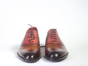 Handmade Men's Two Tone Brown Leather Lace Up Shoes, Men Designer Dress Formal Luxury Shoes - theleathersouq