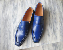 Load image into Gallery viewer, Handmade Men's Blue Leather Loafer Shoes, Men Designer Dress Formal Luxury Shoes - theleathersouq