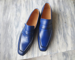 Handmade Men's Blue Leather Loafer Shoes, Men Designer Dress Formal Luxury Shoes - theleathersouq