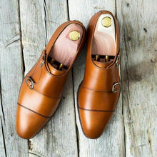 Load image into Gallery viewer, Handmade Men's Tan Brown Leather Cap Toe Double Monk Strap Shoes, Men Designer Dress Formal Luxury Shoes - theleathersouq