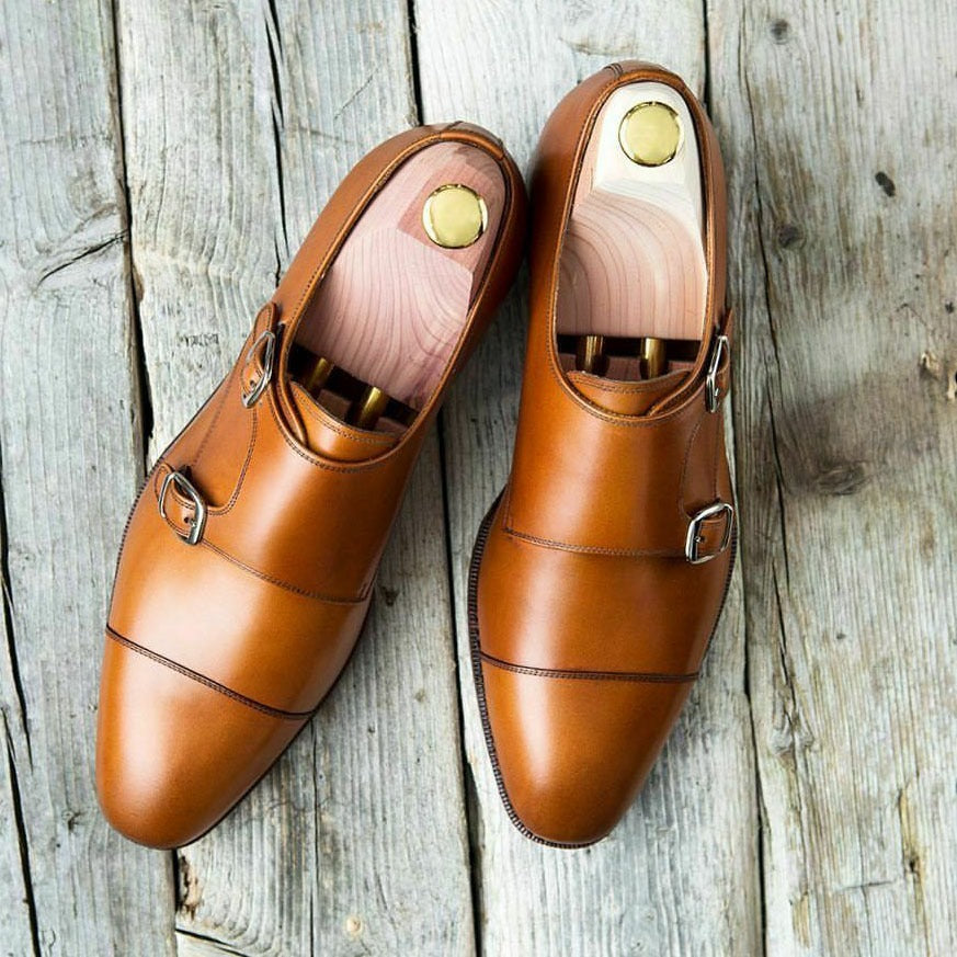 Handmade Men's Tan Brown Leather Cap Toe Double Monk Strap Shoes, Men Designer Dress Formal Luxury Shoes - theleathersouq