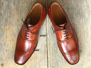 Handmade Men's Brown Brogue Toe Leather Lace Up Shoes, Men Designer Dress Formal Luxury Fashion Shoes - theleathersouq