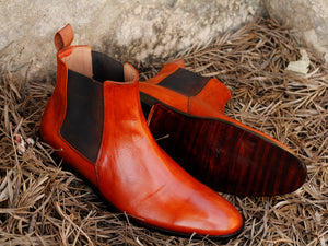 Handmade Men's Tan Leather Chelsea Boots, Men Ankle Boots, Men Designer Fashion Boots - theleathersouq