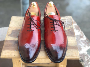 Handmade Men's Burgundy Brogue Toe Leather Lace Up Shoes, Men Designer Dress Formal Luxury Shoes - theleathersouq