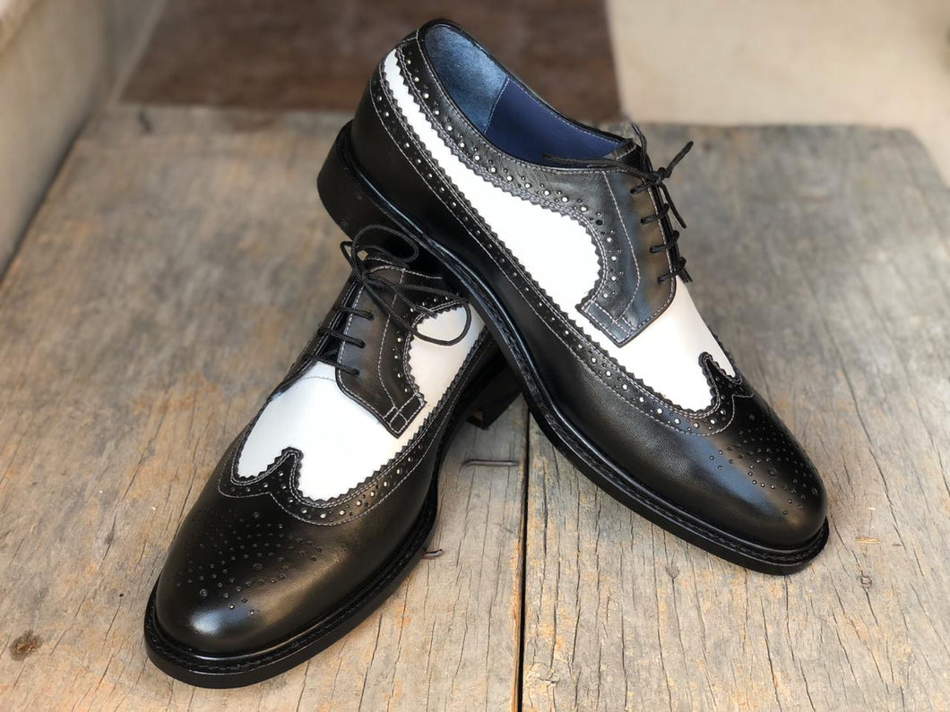 Handmade Men's White Black Wing Tip Brogue Leather Lace Up Shoes, Men Designer Dress Formal Luxury Shoes - theleathersouq