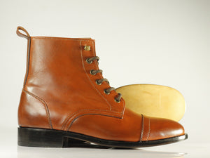 Handmade Men's Brown Cap Toe Leather Ankle Lace Up Boots, Men Designer Boots - theleathersouq
