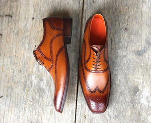 Handmade Men's Two Tone Brown Wing Tip Brogue Leather Lace Up Shoes, Men Designer Dress Formal Luxury Shoes - theleathersouq