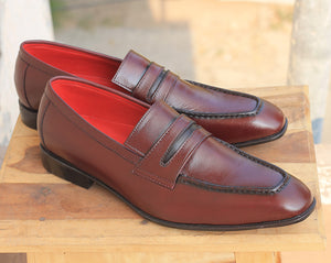 Handmade Men's Brown Leather Penny Loafer Shoes, Men Designer Dress Formal Luxury Shoes - theleathersouq