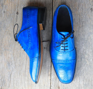 Handmade Men's Blue Cap Toe Brogue Leather Lace Up Shoes, Men Designer Dress Formal Luxury Shoes - theleathersouq
