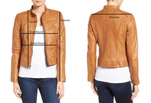 Load image into Gallery viewer, Stylish Women's Brown Wide Collar Leather Jacket, Fashion Leather Jacket Women - theleathersouq