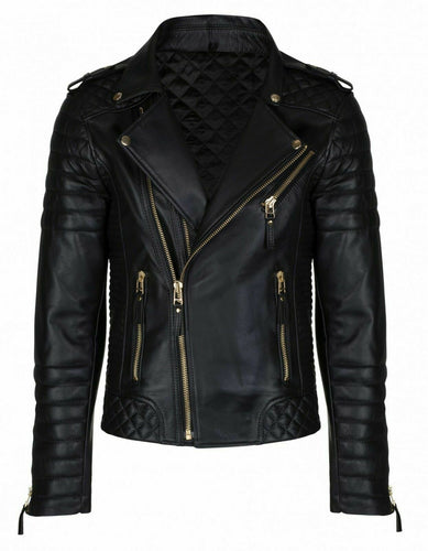 New Men's biker leather jacket, Mens fashion black motorcycle leather jackets - theleathersouq