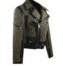 Load image into Gallery viewer, Awesome Woman Black Full Golden Studded Stylish Leather Jacket, Ladies Cowhide Leather Jacket