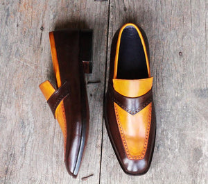 Handmade Men's Two Tone Yellow Brown Leather Loafer Shoes, Men Designer Dress Formal Luxury Party Shoes - theleathersouq