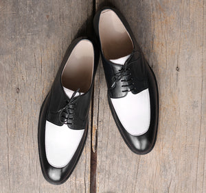 Handmade Men's Two Tone Black White Leather Lace Up Shoes, Men Designer Dress Formal Luxury Party Shoes - theleathersouq