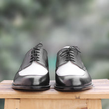 Load image into Gallery viewer, Handmade Men's Two Tone Black White Leather Lace Up Shoes, Men Designer Dress Formal Luxury Party Shoes - theleathersouq