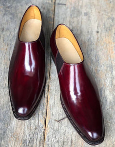 Handmade Men's Burgundy Leather Loafers, Men Designer Dress Formal Luxury Party Shoes - theleathersouq
