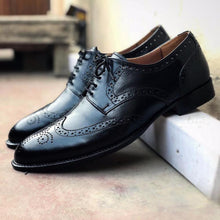 Load image into Gallery viewer, Handmade Men's Black Leather Wing Tip Brogue Lace Up Shoes, Men Designer Dress Formal Luxury Shoes - theleathersouq
