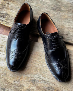 Handmade Men's Black Leather Wing Tip Brogue Lace Up Shoes, Men Designer Dress Formal Luxury Shoes - theleathersouq