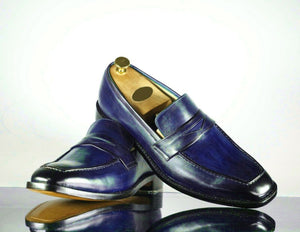 Men's Handmade Blue Leather Penny Loafer Shoes, Men Designer Dress Formal Luxury Shoes - theleathersouq