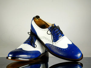 Handmade Men's Blue White Leather Wing Tip Brogue Lace Up Shoes, Men Designer Dress Formal Luxury Shoes - theleathersouq