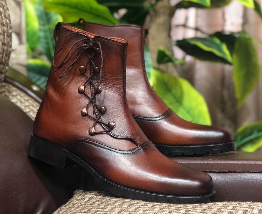 Handmade Men's Brown Leather Fashion Lace Up Boots, Men Ankle Boots, Men Designer Boots - theleathersouq