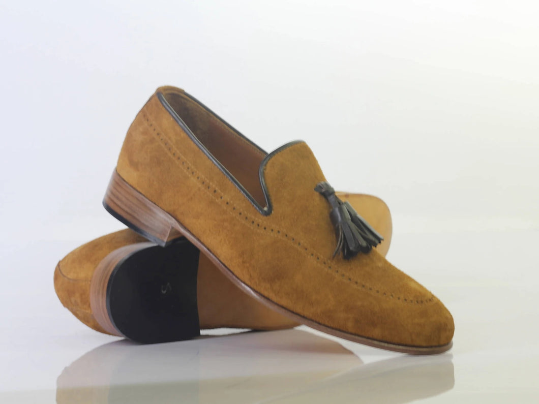 Handmade Men's Tan Color Suede Tassel Loafers, Men Designer Dress Formal Luxury Shoes - theleathersouq