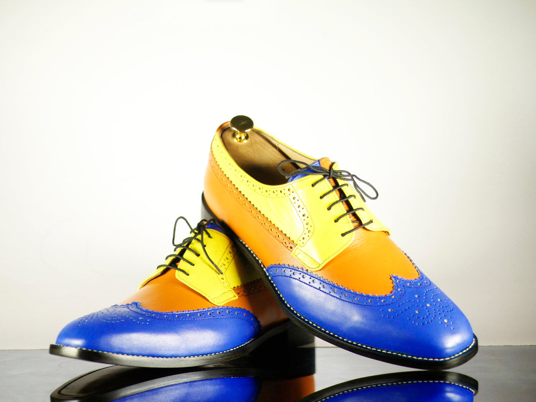 Handmade Men's Multi Color Leather Wing Tip Brogue Lace Up Shoes, Men Designer Dress Formal Luxury Shoes - theleathersouq