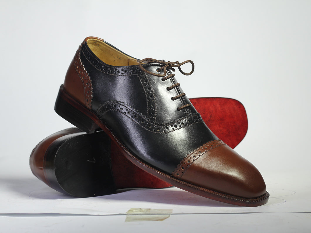 Handmade Men's Black Brown Leather Cap Toe Lace Up Shoes, Men Designer Dress Formal Luxury Shoes - theleathersouq