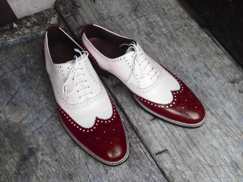Awesome Handmade Men's Two Tone Leather Wing Tip Brogue Lace Up Shoes, Men Designer Dress Formal Luxury Shoes - theleathersouq