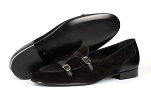 Handmade Men's Black Leather Velvet Loafers, Men Designer Dress Luxury Shoes