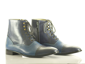 Handmade Men's Two Tone Blue Leather Cap Toe Lace Up & Side Zipper Boots, Men Ankle Boots, Men Designer Boots