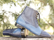 Load image into Gallery viewer, Handmade Men's Two Tone Blue Leather Cap Toe Lace Up & Side Zipper Boots, Men Ankle Boots, Men Designer Boots