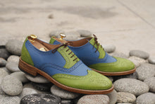 Load image into Gallery viewer, Handmade Men's Green Blue Leather Wing Tip Brogue Lace Up Shoes, Men Designer Dress Formal Luxury Shoes