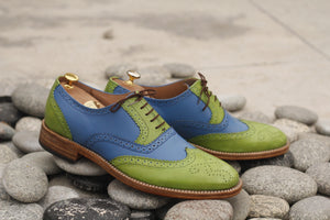 Handmade Men's Green Blue Leather Wing Tip Brogue Lace Up Shoes, Men Designer Dress Formal Luxury Shoes