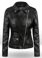 Load image into Gallery viewer, Latest Biker Style Celebrity Leather Jacket For Women, Black Leather Ladies Jacket - theleathersouq