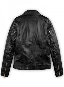 Latest Biker Style Celebrity Leather Jacket For Women, Black Leather Ladies Jacket - theleathersouq