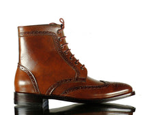 Load image into Gallery viewer, Handmade Men's Brown Leather Wing Tip Brogue Lace Up Boots, Men Ankle Boots, Men Designer Boots