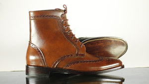 Handmade Men's Brown Leather Wing Tip Brogue Lace Up Boots, Men Ankle Boots, Men Designer Boots