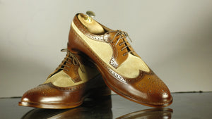 Handmade Men's Brown Beige Leather Suede Lace Up Shoes, Men Wing Tip Brogue Dress Formal Shoes