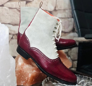 Handmade Men's Burgundy White Leather Suede Lace Up Boots, Men Ankle Boots, Men Fashion Boots