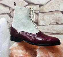 Load image into Gallery viewer, Handmade Men's Burgundy White Leather Suede Lace Up Boots, Men Ankle Boots, Men Fashion Boots