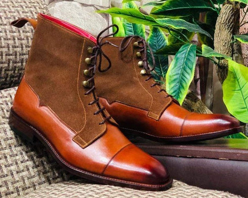 Awesome Handmade Men's Brown Leather Suede Cap Toe Lace Up Boots, Men Ankle Boots, Men Fashion Boots